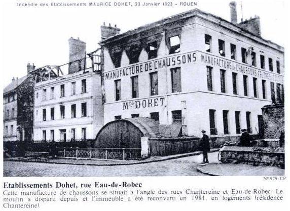 Etablissement Dohet, rue Eau de Robec-Histoire de Rouen Tome 2- 1900-1939 en 800 photographies-Guy Pessiot