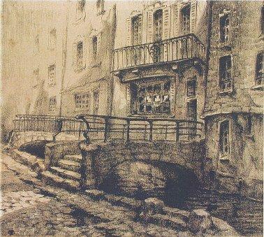 La rue Eau de Robec, R.A Pinchon, Lithographie
