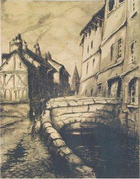 Le Robec près de l'église St Vivien, R.A Pinchon, Lithographie