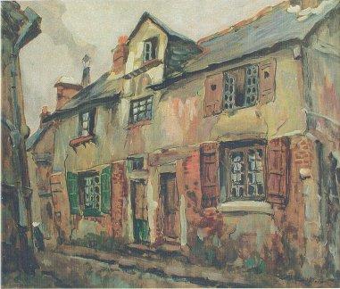 Rue de la Cigogne du mont, R.A Pinchon (Rouen 1866-1943), Peintre de l'école de Rouen