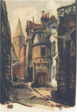 Rue des Matelas, Hyppolite Madelaine, Gravure sur bois, 1919