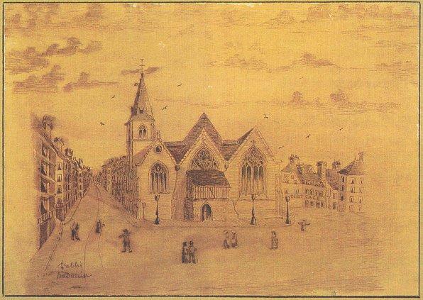 Eglise St Vivien, L'abbé Hédouin, Dessin au crayon